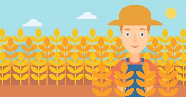 Człowiek w polu pszenicy