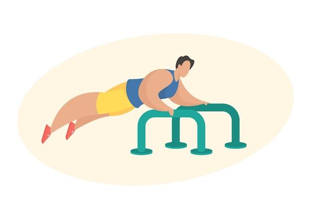 Człowiek w sportowej robi push up przy użyciu sprzętu do ćwiczeń na świeżym powietrzu. postać z kreskówki mężczyzna robi ćwiczenia sportowe. ćwiczenia klatki piersiowej. płaska ilustracja wektorowa