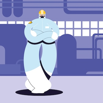 Człowiek w strój ochronny, przemysł chemiczny