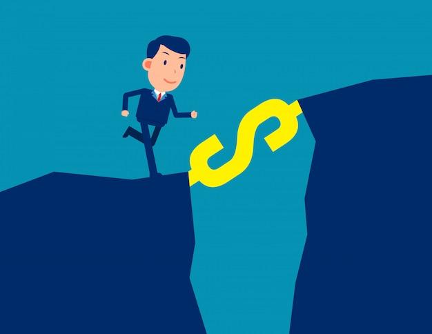 Człowiek w ubrania biurowe, biegnące po schodach ze znakiem dolara