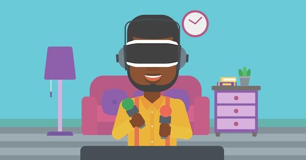 Człowiek w zestawie słuchawkowym wirtualnej rzeczywistości gra wideo.