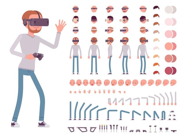 Człowiek w zestawie słuchawkowym wirtualnej rzeczywistości