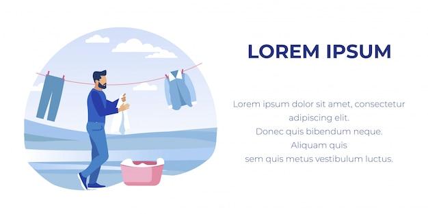 Człowiek wisi czyste pranie na linii na zewnątrz