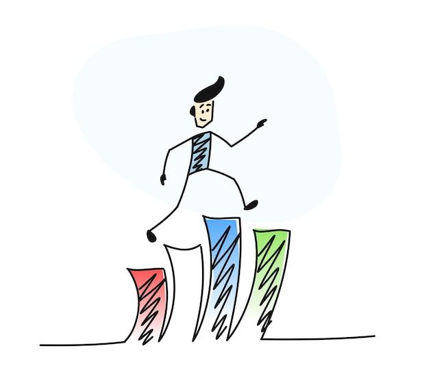 Człowiek wspina się po schodach, kreskówka ręcznie rysowane szkic wektor ilustracja.