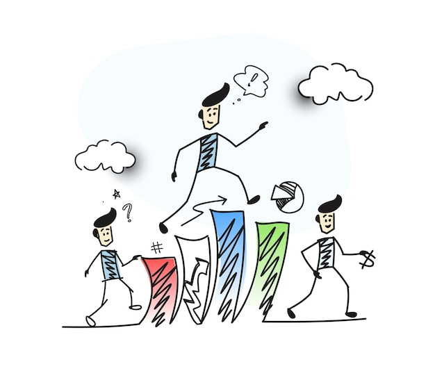 Człowiek, wspinanie się po schodach i myślenie symbol sukcesu finansowego, ilustracja kreskówka ręcznie rysowane szkic wektor.