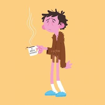 Człowiek wstaje wcześnie z filiżanką kawy