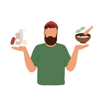 Człowiek wybiera między lekami a ziołami leczniczymi