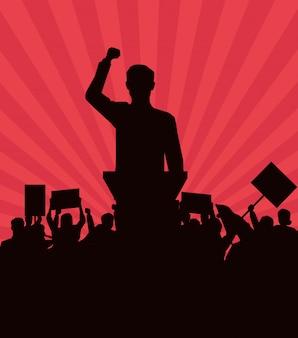 Człowiek wygłasza przemówienie i publiczność z szyld sylwetka