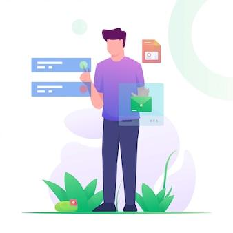 Człowiek wysłać wiadomość dotykać płaski ilustracja