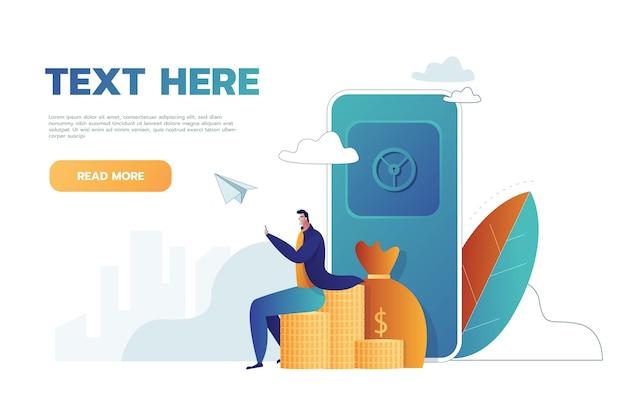 Człowiek z bezpiecznymi i złotymi monetami, sejf bankowy, ilustracja wektorowa na baner internetowy, infografiki, telefon komórkowy.