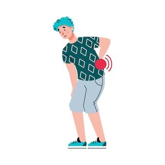 Człowiek z bólem pleców lub bólem kręgosłupa płaski kreskówka wektor ilustracja na białym tle
