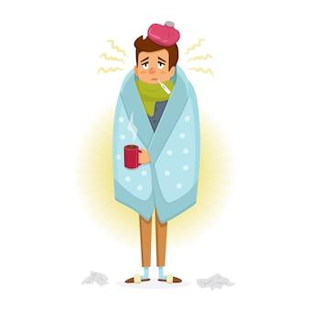 Człowiek z chorobą grypową