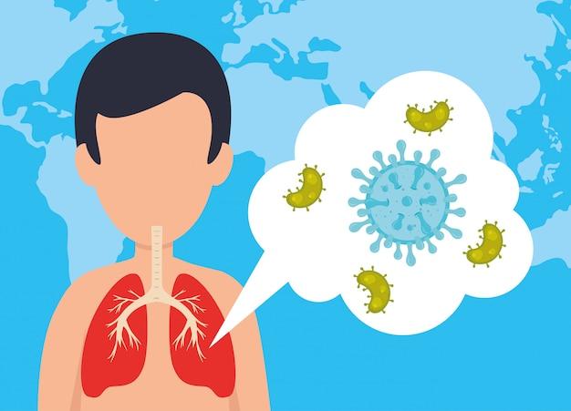 Człowiek z covid 19 mikroorganizmami chorobowymi
