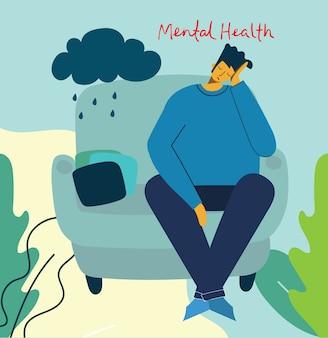 Człowiek z depresją i burzą w głowie. koncepcja ilustracji zdrowia psychicznego. wizualna interpretacja psychologii zdrowia psychicznego w płaskiej konstrukcji