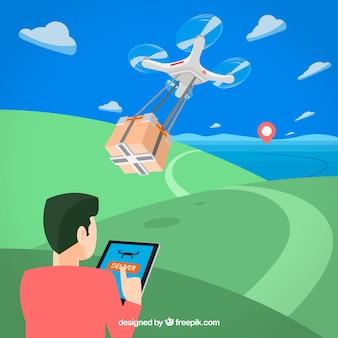 Człowiek z drone dostaw