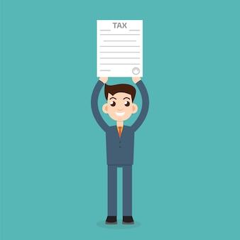 Człowiek z formularzem podatkowym