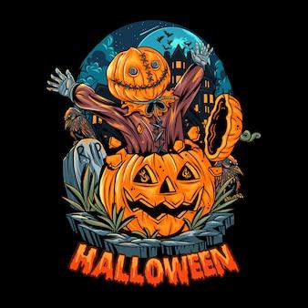Człowiek z głową worka wychodzi z dyni halloween i robi szok, ponieważ jest tak przerażający. edytowalne warstwy wektor