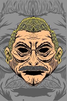 Człowiek z ilustracją wąsów