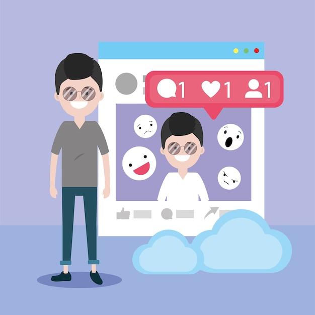 Człowiek z informacjami na temat strony i komunikatem emoji czatu