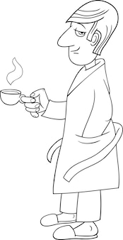 Człowiek z karykaturą kawy