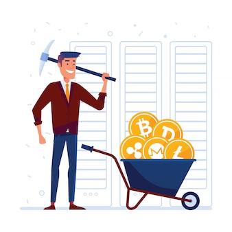 Człowiek z kilofem i taczką pełną monet kryptograficznych
