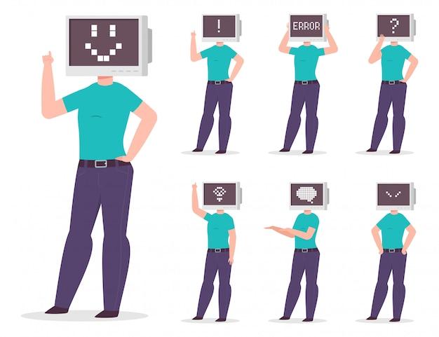 Człowiek z komputerem zamiast głowy z różnymi pikselowymi emocjami i znakami na monitorze. wektor zestaw znaków kreskówka na białym tle