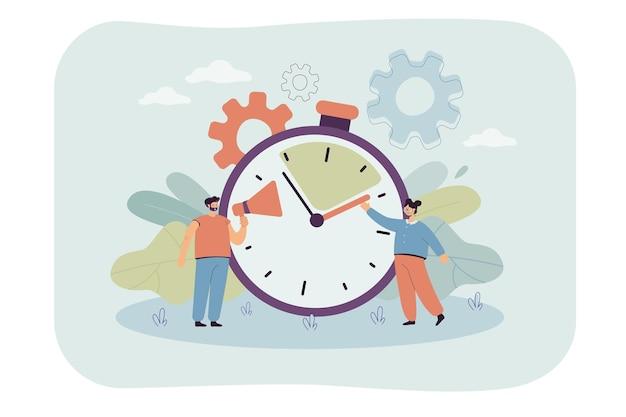 Człowiek z megafonem i kobieta trzyma rękę godziny. trening komentatora sportowego lub zawodów, szybka reakcja, ilustracja płaskiego timera