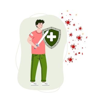 Człowiek z mieczem odzwierciedlającym atak wirusa kreskówka wektor ilustracja na białym tle
