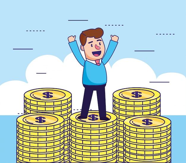 Człowiek z monet gotówką do bankowości internetowej