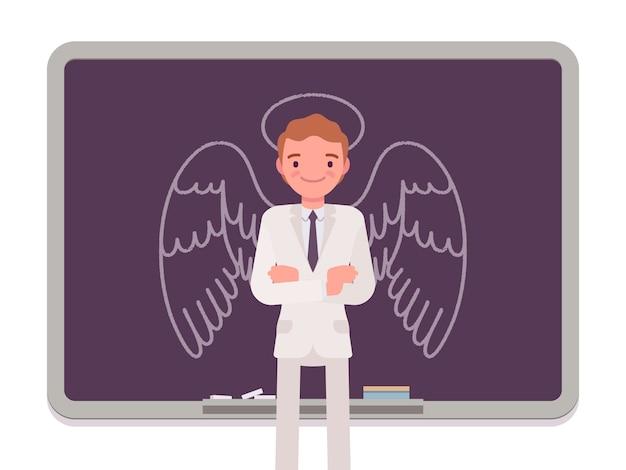 Człowiek z narysowanym aniołem