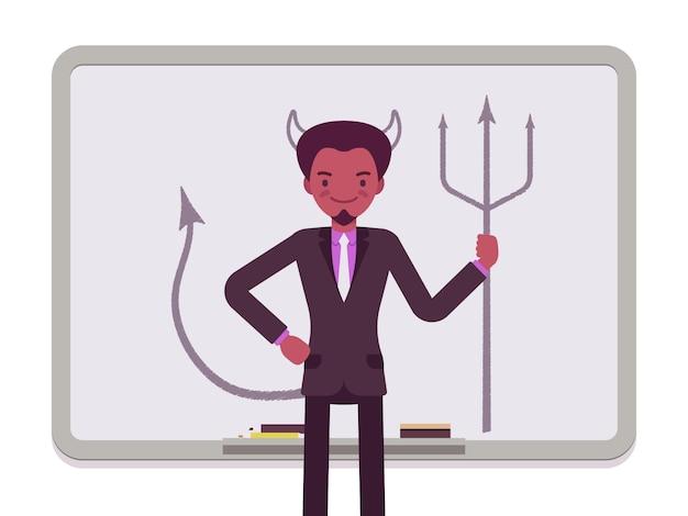Człowiek z narysowanym diabłem