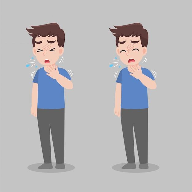 Człowiek z objawami różnych chorób - gorączka, kaszel, smark