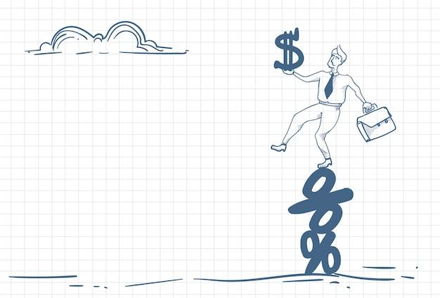 Człowiek z pieniędzmi na symbole procent