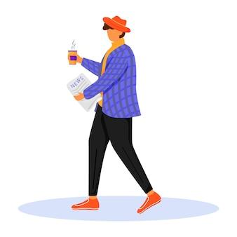 Człowiek z poranną gazetą płaski kolor ilustracji. osoba czyta i pije kawę. zdobywanie nowej prasy. modny młody człowiek w kurtce na białym tle postać z kreskówki na białym tle