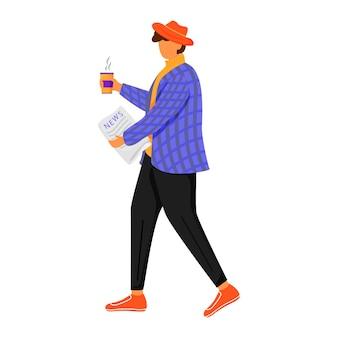 Człowiek z poranną gazetą płaski kolor ilustracji. osoba czyta i pije kawę. zdobywanie nowej prasy. stylowy młody człowiek w kurtce na białym tle postać z kreskówki na białym tle