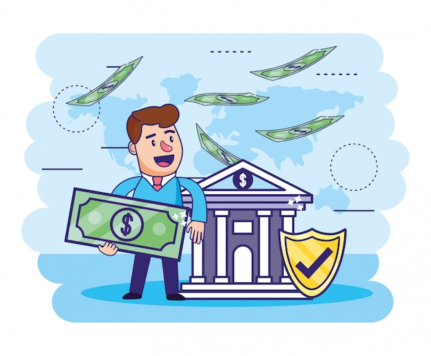 Człowiek z rachunkiem i bankiem z tarczą bezpieczeństwa