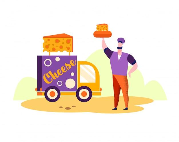 Człowiek z serem w rękawie sprzedawca serów w pobliżu ciężarówki