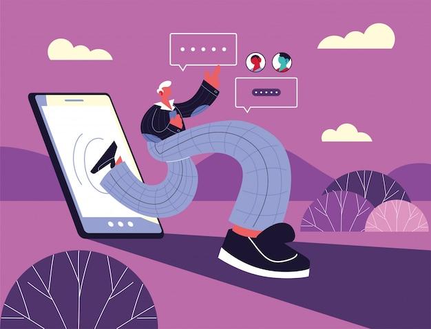 Człowiek z smartphone na czacie, czat bańka