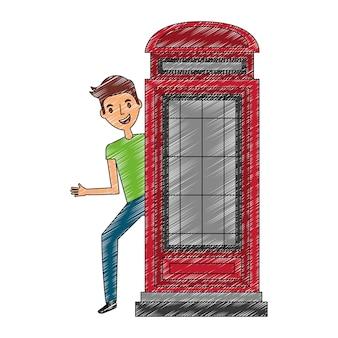 Człowiek z stoisku telefon wielka brytania symbol