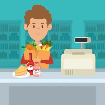 Człowiek z supermarketu artykuły spożywcze w torbie na zakupy