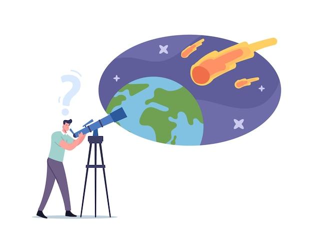 Człowiek z teleskopem spojrzenie na naturalne zjawisko na niebie z spadającymi asteroidami, męska postać obserwująca spadający meteoryt, amatorzy lub zawodowi naukowcy studiujący astronomię. ilustracja kreskówka wektor