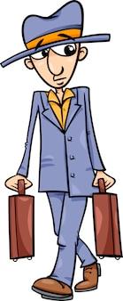 Człowiek z walizki ilustracja kreskówka