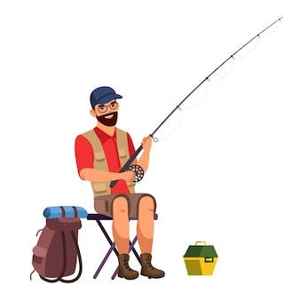 Człowiek z wędką na białym tle osoba, rybak w ubrania turystyczne siedzi na krześle