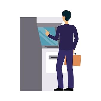 Człowiek za pomocą banku bankomat, biznesmen dokonywania wypłaty gotówki lub transakcji kartą kredytową