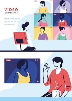 Człowiek za pomocą komputera do wirtualnego spotkania, baner