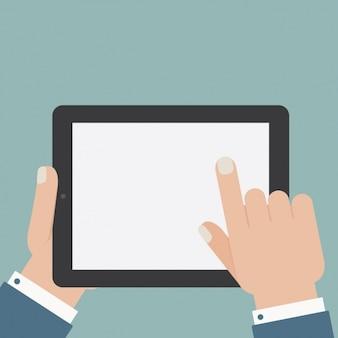 Człowiek za pomocą konstrukcji tabletu