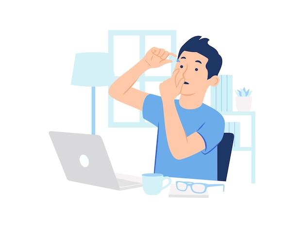 Człowiek za pomocą kropli do oczu podczas pracy w domu przy użyciu ilustracji koncepcja laptopa