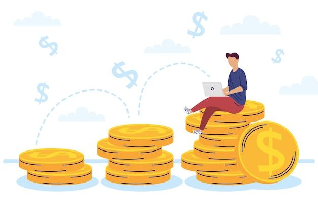 Człowiek za pomocą laptopa w monetach