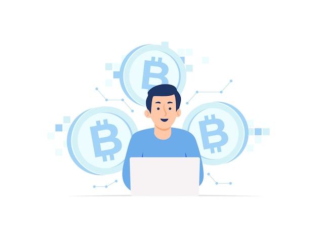 Człowiek za pomocą laptopa wydobywanie kryptowaluty bitcoin ilustracja koncepcja blockchain cyfrowej waluty