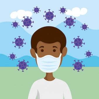 Człowiek za pomocą maski na twarz dla pandemii covid19